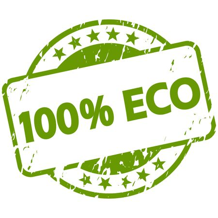 EPS 10 vector with round green colored grunge stamp with banner and text 100% Eco
