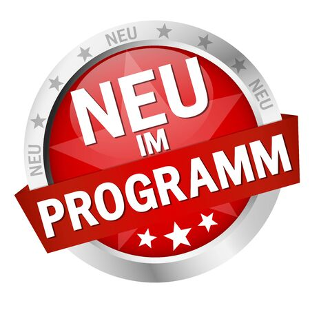 EPS 10 vector with round colored button with banner and text New in programm (in german)