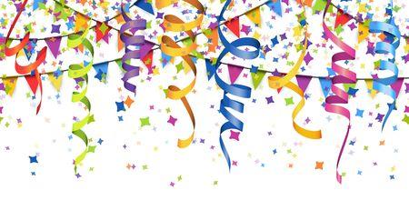 Vektor-Illustration von nahtlosen farbigen Konfetti, Girlanden und Luftschlangen auf weißem Hintergrund für Party- oder Karnevalsnutzung