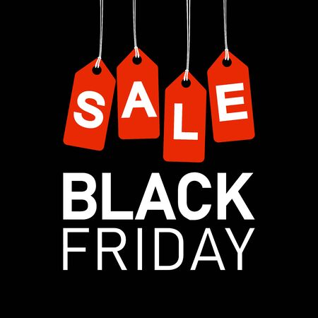 EPS 10 vector file illustration with red hang tags with text SALE and text BLACK FRIDAY on dark background