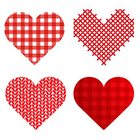 four valentine or mothers day special love hearts collection isolated on white background