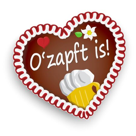 illustrated gingerbread heart with text It is tapped (in german) for Oktoberfest 2019 2020 time Illustration