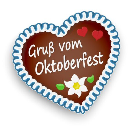 illustrated gingerbread heart with text greetings from Oktoberfest (in german) for Oktoberfest 2019 2020 time