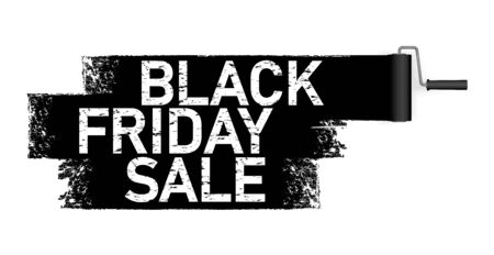 vector file illustration with paint roller in dark color painting text BLACK FRIDAY SALE on white background Illusztráció