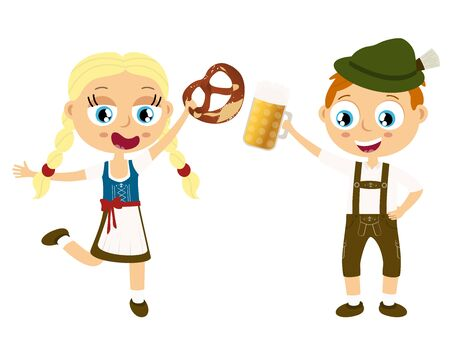 EPS illustration with man and woman holding a beer and pretzel and wearing typical Oktoberfest costume isolated on white background