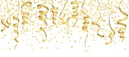 vector illustration of seamless golden colored confetti and streamers for carneval or party time on white background