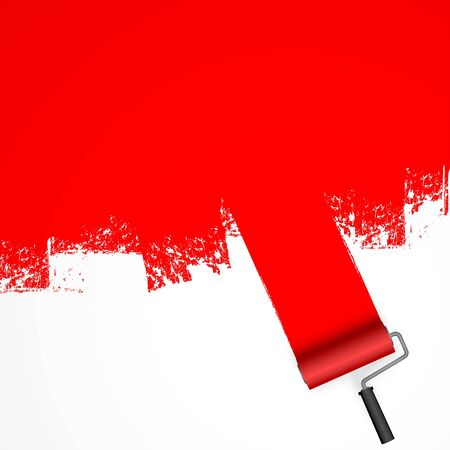 vector illustration isolated on white background with paint roller and painted marking colored red 일러스트