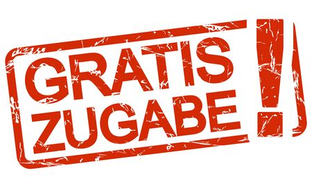 red grunge stamp with frame, big exclamation mark and text free addition (in german)