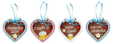 illustrated gingerbread hearts with blue ribbon bow and text in german for Oktoberfest 2019 2020 time 向量圖像
