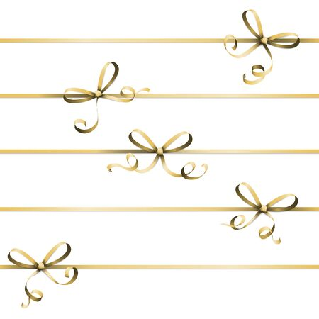 vector illustration of golden colored ribbon bow isolated on white background Illustration