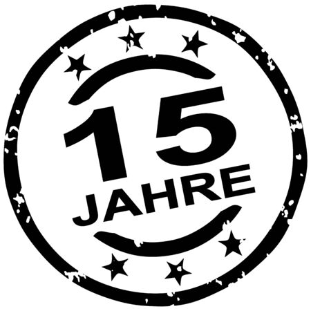 round grunge stamp for 15 years jubilee marketing (text in german) Ilustracja