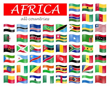 collection of flags from all national countries of Africa