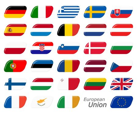 collection of flags from all national countries of European Union 스톡 콘텐츠 - 129485430