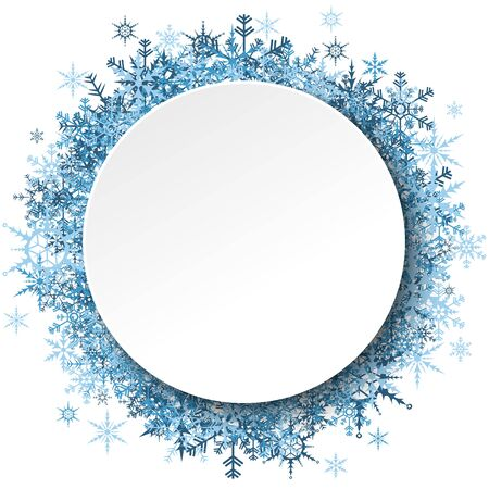 blue snowflakes behind empty round frame for christmas winter greetings on white background Çizim
