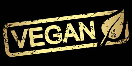 gold grunge stamp with frame, big leaf and text VEGAN
