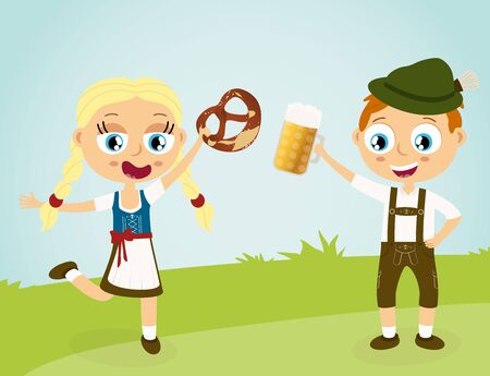 EPS illustration with man and woman holding a beer and pretzel and wearing typical Oktoberfest costume standing on grass with blue sky