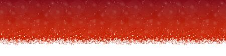 white snow flakes on bottom side and red colored background  イラスト・ベクター素材