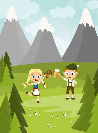 illustration with man and woman holding a beer and pretzel and wearing typical Oktoberfest costume standing on grass with blue sky, mountains of alps and green firs
