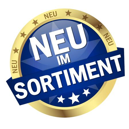 round colored button with banner and text New Releases (in german) 向量圖像