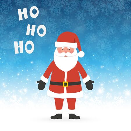 Santa Claus concept with Santa saying Ho Ho Ho and blue colored snow fall background for christmas time greetings
