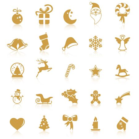 collection of different abstract icons with reflections for christmas and winter time concepts Çizim