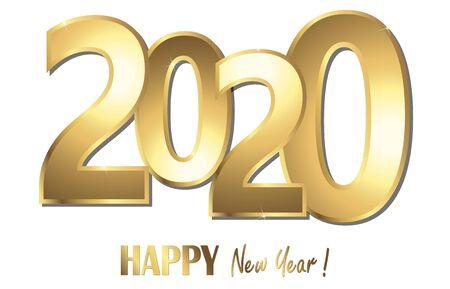 Frohes neues Jahr 2020 Grüße mit goldenen Zahlen und weißem Hintergrund Vektorgrafik
