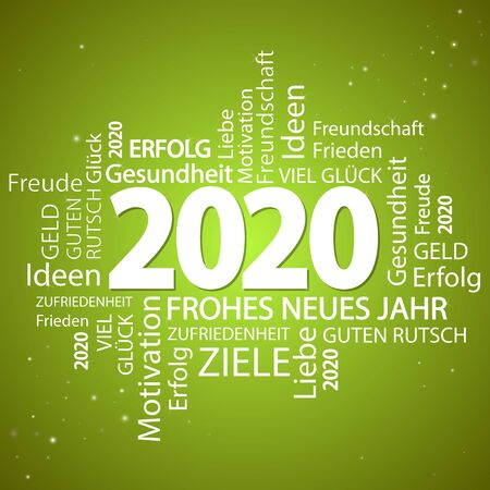 word cloud with new year 2020 greetings and green background
