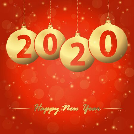 red background with golden christmas bubbles and text 2020 for the new year Çizim