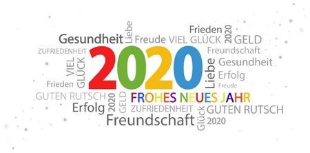 word cloud with new year 2020 greetings and white background Stok Fotoğraf - 129485460