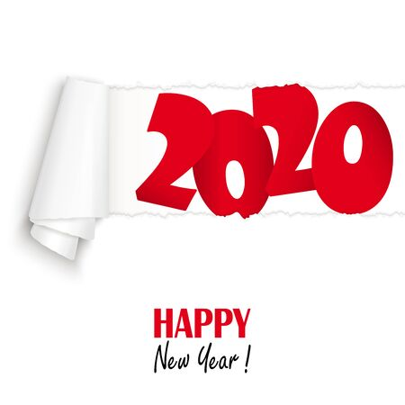 ripped open white paper showing 2020 and text Happy New Year
