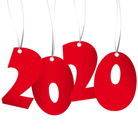 red numbers showing New Year 2020 with white background