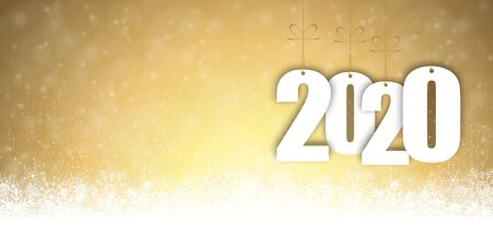 background with snow fall and greetings for christmas and New Year 2020 Çizim