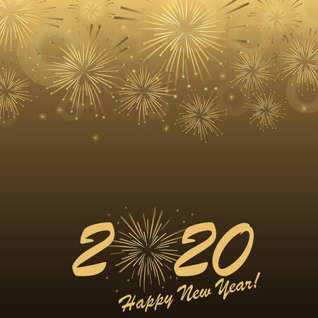 golden colored fireworks concept for New Year 2020 greetings with dark background