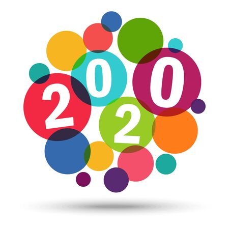 colored background concept for New Year 2020 greetings Vektorgrafik