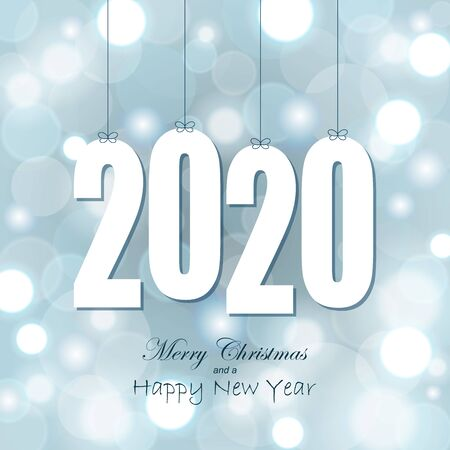 white colored hang tag numbers for New Year 2020 on glittering background Vektorgrafik