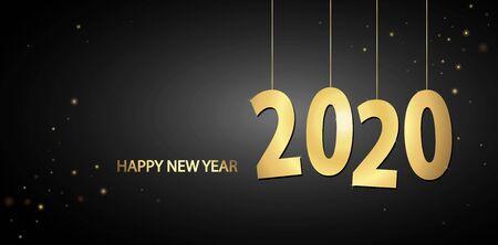 goldfarbene Hang-Tag-Nummern für das neue Jahr 2020