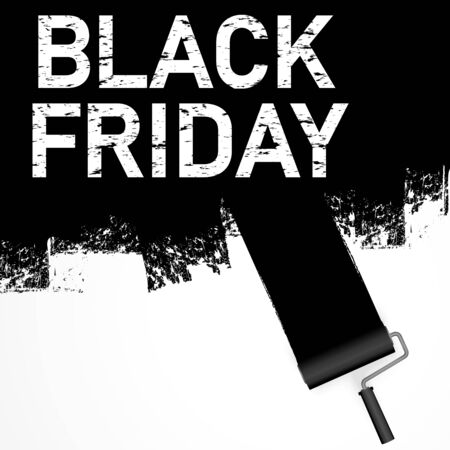 Vector file illustration with paint roller in dark color painting text BLACK FRIDAY on white background Illusztráció