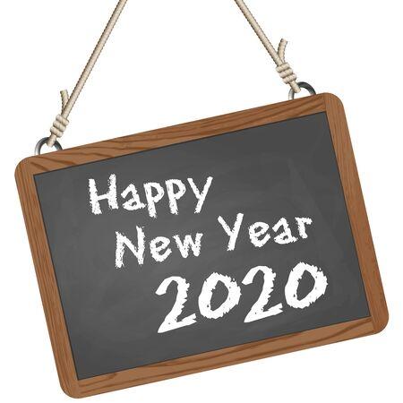 Grüße auf Schultafel mit Text Frohes neues Jahr 2020