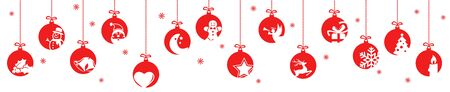 collection of hanging baubles colored red with different abstract icons for christmas and winter time concepts