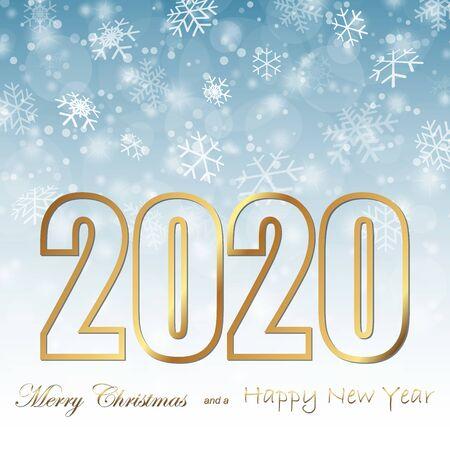 Hintergrund mit Schneefall und Grüßen zu Weihnachten und Neujahr 2020