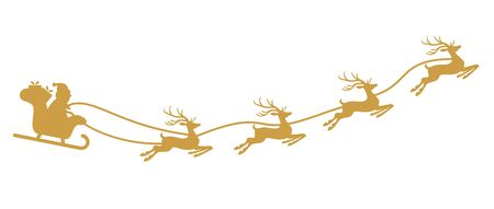 Santa Claus with sled and reindeers isolated on white background Ilustração