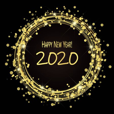 round lightning with dots and sparkle effects colored golden on dark background with Happy New Year 2020 greetings