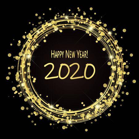 runder Blitz mit Punkten und Glitzereffekten in goldener Farbe auf dunklem Hintergrund mit Grüßen für das neue Jahr 2020