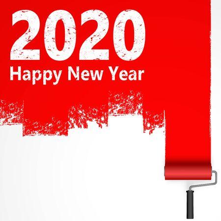 rotes Farbrollerkonzept für das neue Jahr 2020 Vektorgrafik