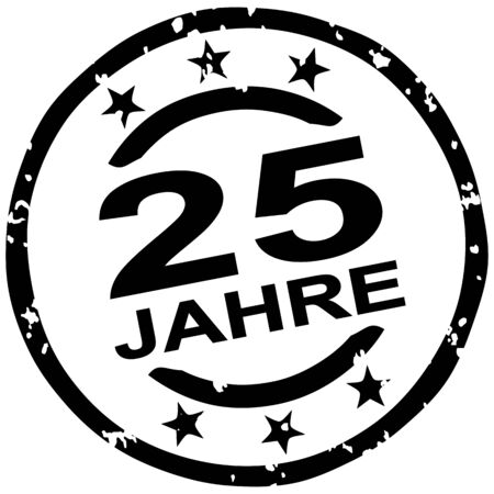 round grunge stamp for 25 years jubilee marketing (text in german)