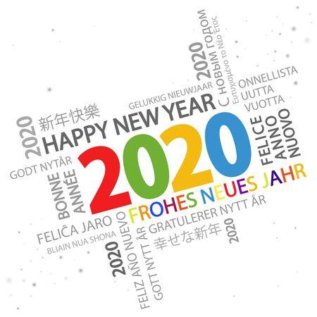 Wortwolke mit Neujahrsgrüßen 2020 und weißem Hintergrund Vektorgrafik