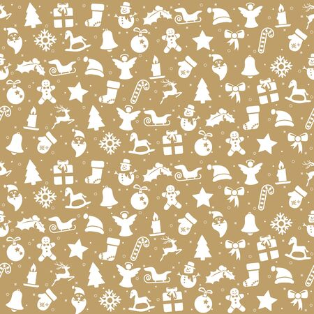 seamless christmas background colored brown consists of typical christmas icons like santa claus, candle, snowfalke, tree, gingerbread man, stars