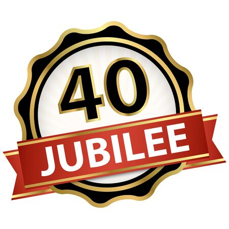 round jubilee button with red banner for marketing use for 40 years