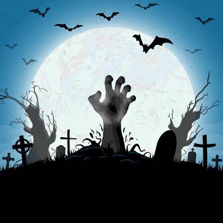 Manos de zombies frente a la luna llena con elementos ilustrados de miedo para diseños de fondo de Halloween Ilustración de vector