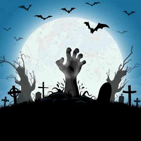 zombie hands in front of full moon with scary illustrated elements for Halloween background layouts Ilustração Vetorial